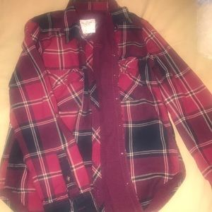 Abercrombie and Fitch red blue plaid shirt